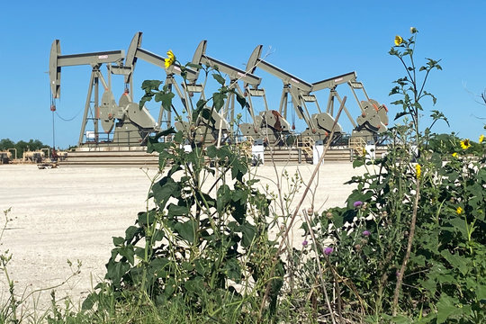 A Marathon Oil well site is seen in the Eagle Ford Shale oil field in south Texas