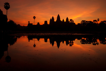 Sunrise over Angkor Wat temple in Cambodia