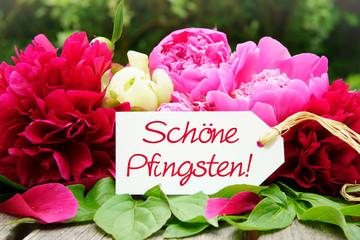 Photo sur cadre textile Montagne Schöne Pfingsten! , Pfingstgrüsse mit Pfingstrosen