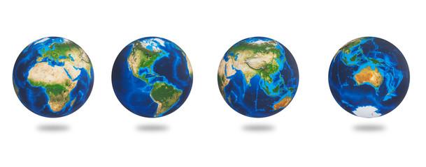 Fototapeta Africa, Asia, Europe, America, Australia, the Earths continents. Earth set isolated on white background. Earth planet globes.  obraz