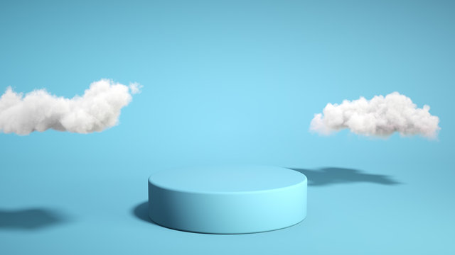 Blue podium with cloud on blue background. Product display stand. Insert your product. Father's Day. 3d rendering.