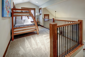 Bedroom interior with natural wooden modern furniture. with two bunk beds.