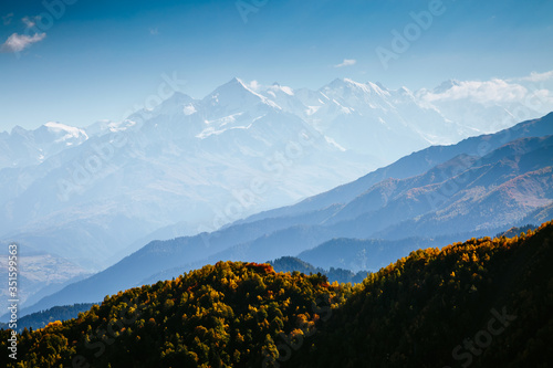 Wall mural Beautiful view in high Caucasus mountains on sunny day. Location place of  Upper Svaneti, Georgia.
