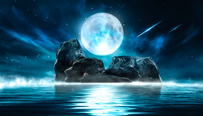 Fotomurales - Futuristic night landscape with abstract landscape and island, moonlight, shine. Dark natural scene with reflection of light in the water, neon blue light. Dark neon circle background.