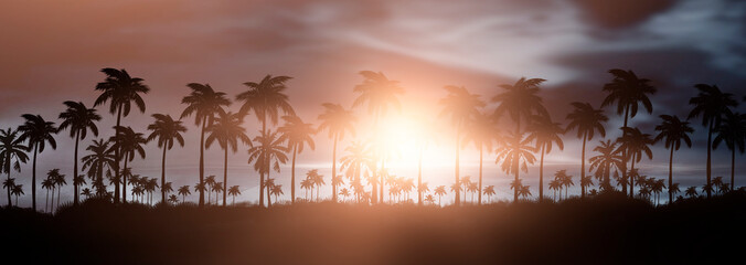 Foto auf AluDibond Lachs Night landscape with palm trees, against the backdrop of a neon sunset, stars. Silhouette coconut palm trees on beach at sunset. Vintage tone. Space futuristic landscape. Neon palm tree