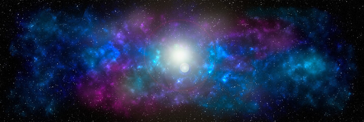 Planets and galaxy banner, science fiction wallpaper. Beauty of deep space. Billions of galaxies in the universe Cosmic art background