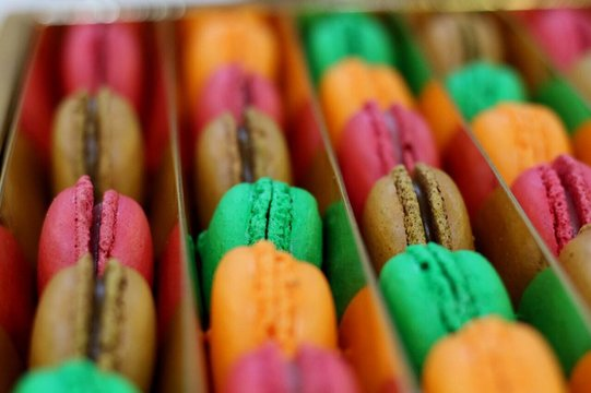 Full Frame Shot Of Macroons In Container