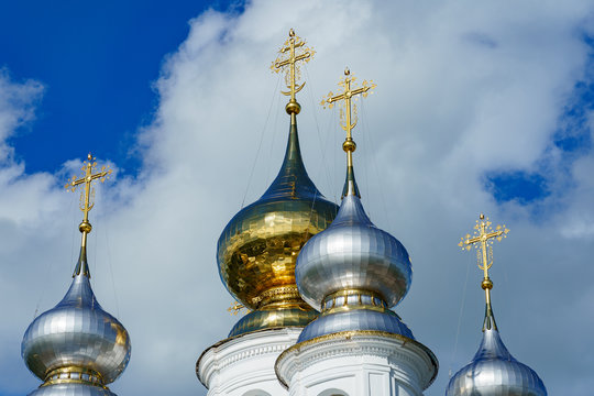 domes of an Orthodox church of gold and silver metal