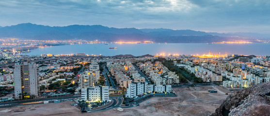 Aerial panoramic view on Eilat (Israel) and Aqaba (Jordan) cities, Middle East