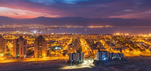 Aerial panoramic view  at dawn, Eilat (Israel) and Aqaba (Jordan) cities, Middle East