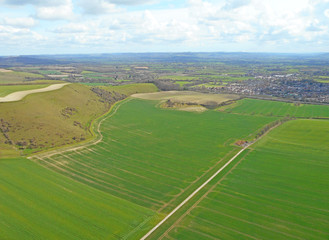 Aerial view of the hills at Mere in Wiltshire