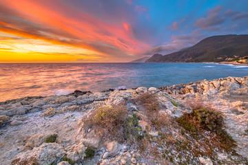 Wall Mural - Sunset over Mediterranean sea