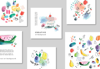 Set of Card Layouts with Fruits and Dessert Illustrations