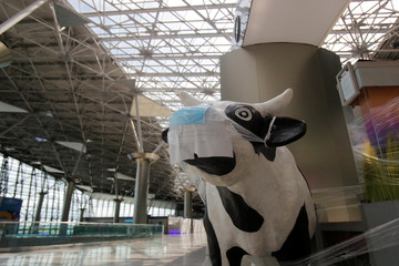 A sculpture of a cow with protective mask is seen next to a closed restaurant at Vnukovo International Airport amid the outbreak of the coronavirus disease (COVID-19) in Moscow