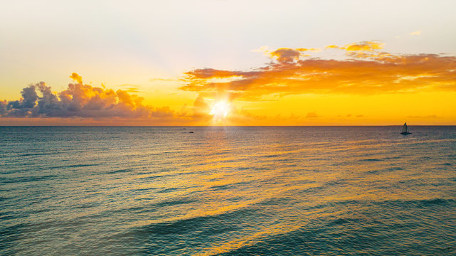 aerial view of a wonderful sunset on the caribbean island, La Romana, Dominican Republic