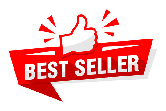 Advertising sticker best seller with red thumb up. Illustration, vector