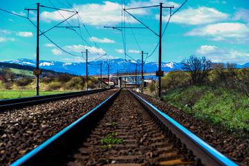 Spoed Fotobehang Spoorlijn Surface Level Of Railroad Track