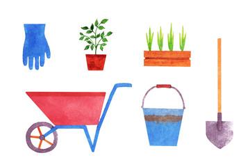 Set of gardening tools, watercolor illustration