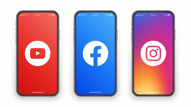 Youtube Facebook Instagram Logo Icon On IPhone Screen Illustration On White Background. Design Template For Digital Business