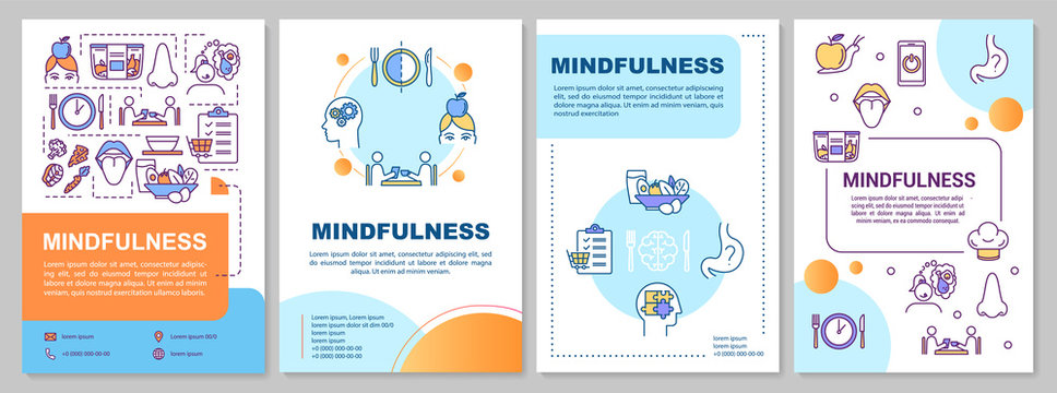 Eating mindfulness brochure template. Healthy nutrition habits. Flyer, booklet, leaflet print, cover design with linear icons. Vector layouts for magazines, annual reports, advertising posters