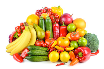 Wall Mural - Set bright ripe fruits and vegetables isolated on white