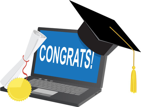 Laptop with a graduation hat and diploma, congratulating online graduates, EPS 8 vector illustration