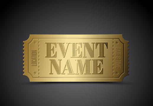 Golden Event Ticket Layout
