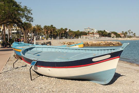 Fishing boat close-up. The coast of Cagnes-sur-Mer. A city on the French Riviera. Region Provence-Alpes-Cote d'Azur.