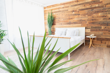 Boho interior style bedroom.
