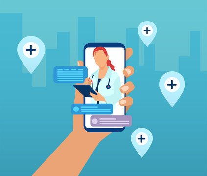 Vector of a hand holding a smartphone with a doctor on a screen and chat icons.