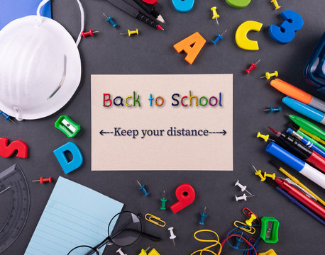 Keep your distance ,Health care concept. Back to school, Education. Real life 2020. during the Corona-virus Disease Pandemic , school reopening.