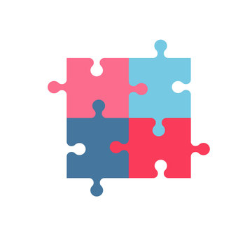 Vector illustration made from four colorful pink and blue puzzle pieces.