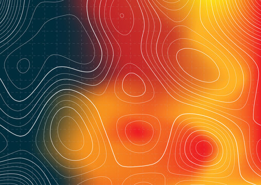 Abstract topography map design with heat map overlay
