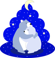 Fotobehang Draw Cute cartoon flat vector hugging bears with snow on a background