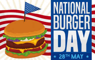 Delicious Cheeseburger with Patriotic Toothpick and Design for National Burger Day, Vector Illustration