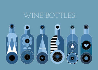 A row of six different wine bottles, decorative modern design. Shades of blue vector illustration.