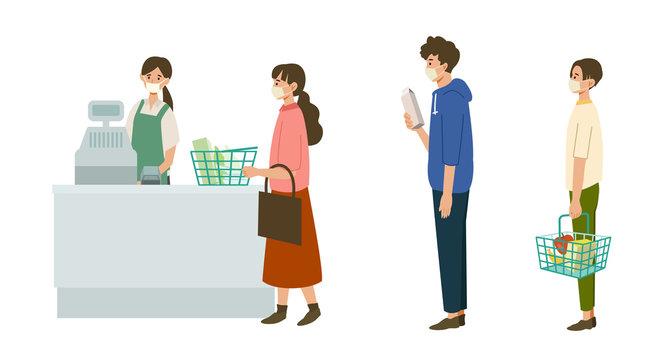 【新しい生活様式】距離をとってレジに並ぶ人々