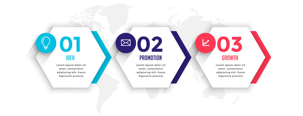 hexagonal style three steps business infographic template