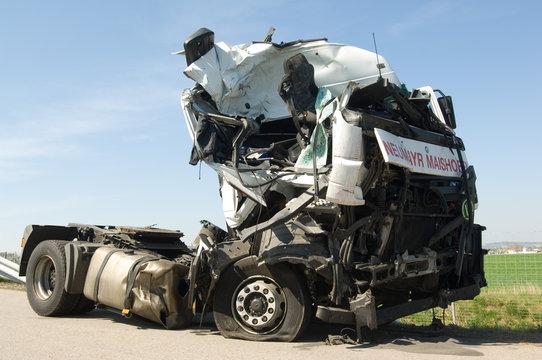 truck cabin destroyed by a havey crash on an austrian motorway