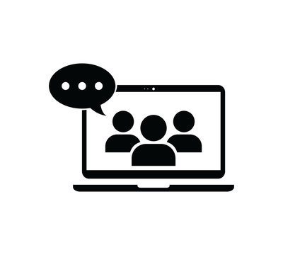 Online webinar icon,Online consulting line icon, Isolated symbol on online education topic with business e-learning webinar icon concept with also online course