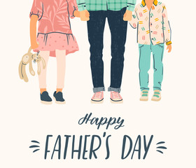 Happy Fathers Day. Vector illustration. Man holds the hand of children.
