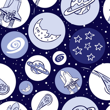 Vector blue monochrome space shuttle blast off elements in circles repeat pattern. Great for kids school bags and wrapping paper or fabric.