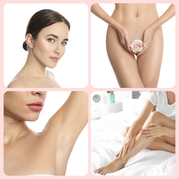 Collage with photos of woman showing smooth skin after epilation