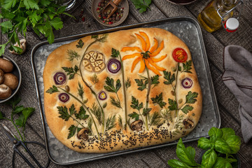 Floral painting focaccia,  garden flatbread art, food trend