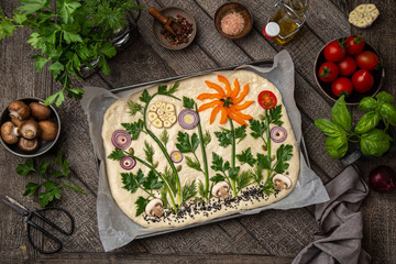 raw floral painting focaccia,  garden flatbread art, food trend