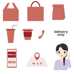 Illustration of a young woman with a set of icons for delivery.