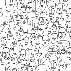 Set of abstract faces. One line drawing. Lineart. Vector faces