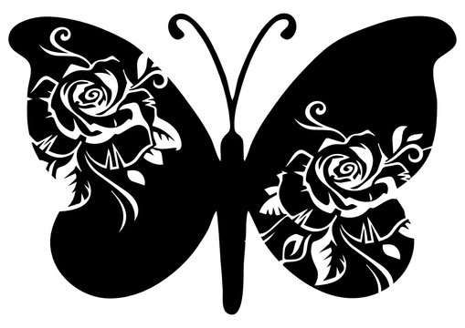 black svg butterfly for cutting machine
