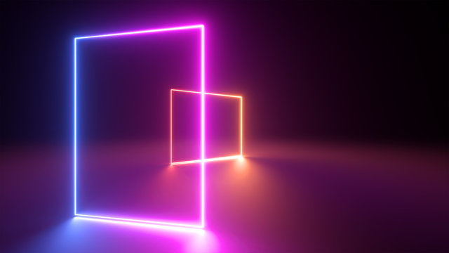 3d render, abstract neon geometric background. Stage laser show illumination. Blank rectangular shapes, square frames, virtual reality with copy space. Glowing neon lines. Minimal futuristic design