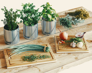 Herbs and spices selection on wooden table, close up. 3d rendering